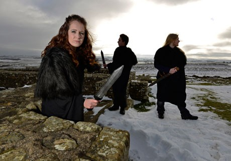 English Heritage staff at Hadrian's Wall in their cloaks